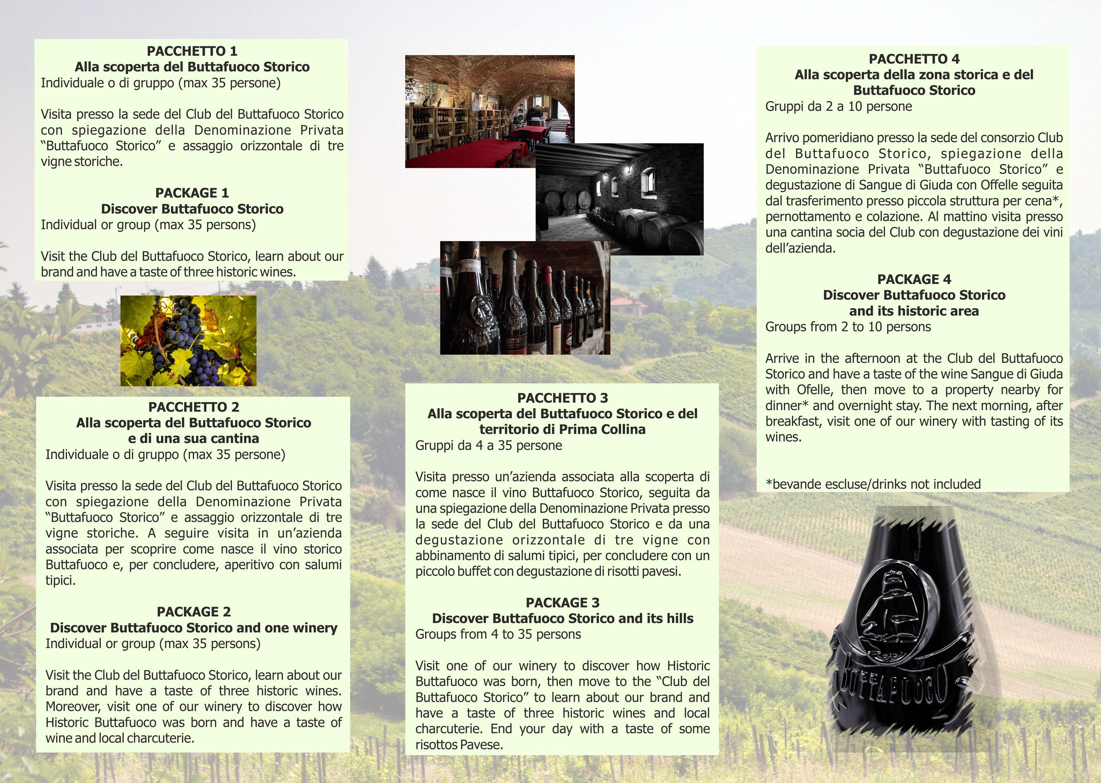 depliant pacchetti 2018 I I pacchetti turistici del Buttafuoco Storico